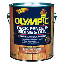 olympic semi transparent deck fence and siding oil stain in cedar