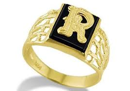 mens gold ring design 14k yellow gold letter r initial black onyx mens ring men s