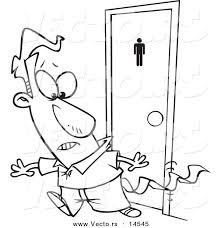 vector of a cartoon businessman leaving a bathroom with tissue