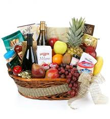 wine basket gourmet extravagance fruit wine basket wine fruit
