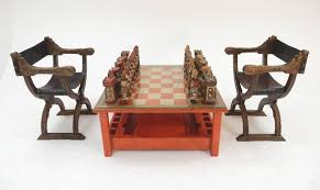 1950s italian large sculpture chess set and game coffee table for