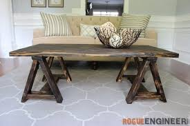 Free Diy Table Plans by Sawhorse Coffee Table Free Diy Plans Rogue Engineer