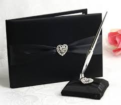 wedding guest book and pen set black satin heart wedding guest book pen set