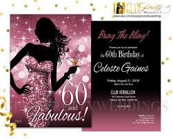 pink 60th birthday invitation bombshell pink glitter bring the