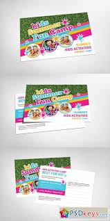kids summer camp postcard template 151880 free download