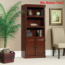 Bookcase With Doors Sauder Heritage Hill 3 Shelf Library Bookcase With Doors Cherry Ebay