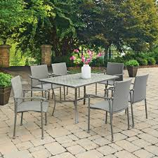 Patio Table Ls Umbria Concrete Tile 7 Pc Rectangular Outdoor Table 6 Chairs