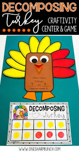 thanksgiving turkey hat craft building number sense with decomposing turkey one sharp bunch