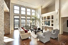 family room floor plans family room in open floor plan with windows to balcony stock photo