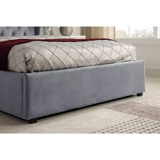 Grey Ottoman Bed Safina Wing Back Double Ottoman Bed In Grey Velvet Furniture123