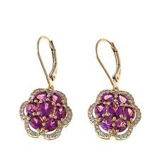 flower earrings 14k yellow gold 3 28ctw grape garnet and white zircon flower