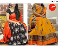 pattern black silk pack traditional partywear silk saree combo pack of two black mustard