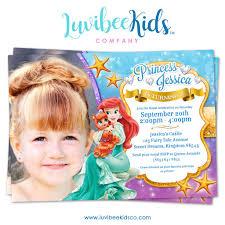 princess ariel little mermaid birthday invitation with photo