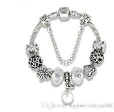 silver charm bead necklace images Wholesale 925 sterling silver white flower crystal european charms jpg