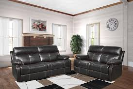 Living Room With Chairs Only Aria Motion Collection Black Faux Leather Recliners With Extra