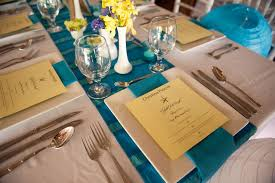 Blue Table Menu Blue White And Yellow Wedding Decor U2013 Weddings Costa Rica