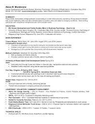Child Development Resume Alexa Manderano Resume