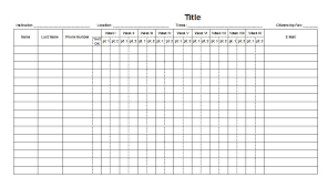 Weekly Attendance Sheet Template Printable Chart Template Chart 126 Best Printable Charts