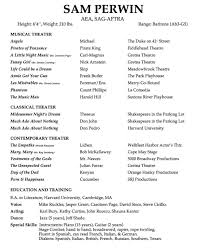 Actor Resume Special Skills Resume U2014 Sam Perwin