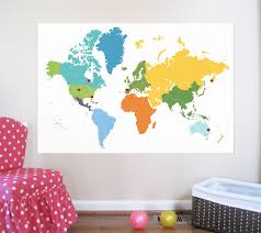 world map decal with hearts dots and continent names stickers
