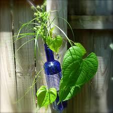 Blue Bottle Vase Cobalt Blue Glass And Metal Wine Bottle Vase Craft Organic