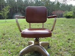 vintage office chair rolling chair metal chair faux leather chair