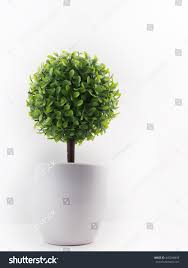 small artificial tree pot isolated white stock photo 445248859