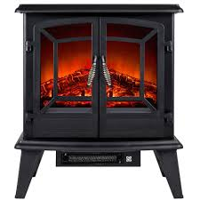 akdy 20 in freestanding electric fireplace stove heater in black
