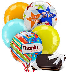 balloons and chocolate delivery thank you balloons chocolates 5 mylar balloons