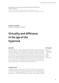 virtuality and différance in the age of the hyperreal pdf
