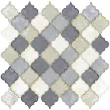 glazzio tiles waterfall grey glossy arabesque glass tile new