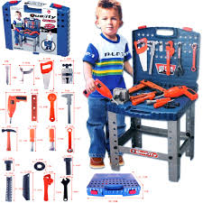 69pc kids work bench tool box kit construction set toy diy drill