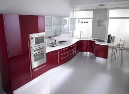 elegant red and white italian galery kitchen designs that has