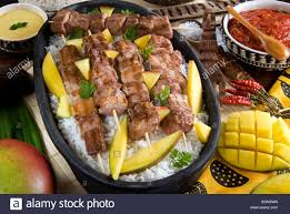 cuisine madagascar madagascan food mosakiki zebu skewers with mango and rice stock