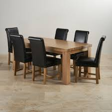 Scroll Back Leather Dining Chairs Chunky Dining Set In Oak 3ft 7 Quot Table 6 Black Chairs