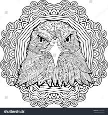 stern eagle on background circular mandala stock vector 511030792