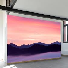 rocky mountain sunset wall mural paintings