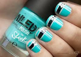 turquoise with navy blue stripes white striping tape and flower