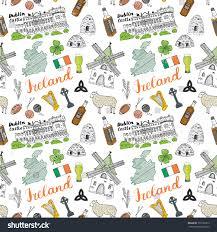 Flag Of Dublin Ireland Ireland Sketch Doodles Seamless Pattern Irish Stock Vector