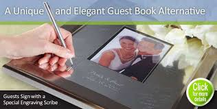 engravable wedding guest book engravable signature frame signature platters