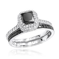 black engagement ring set gold white black unique bridal engagement ring set 1 2ct