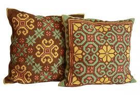 vintage needlepoint throw pillows omero home