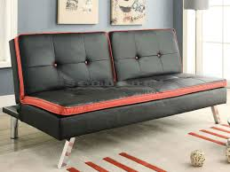 coaster 500766 black and red contrast futon sofa bed