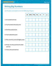 writing big numbers u2013 free 2nd grade place value worksheet u2013 math