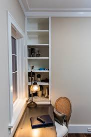 office desk with bookshelf inspired caned chairsin home office transitional with good looking