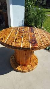 outdoor tables made out of wooden wire spools dining room table made from large wooden spool my projects and