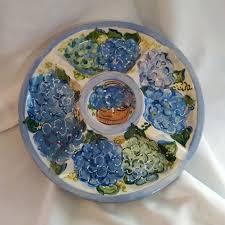 painted platter hydrangea flowers painted dip platter