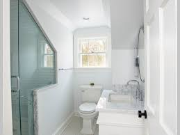 bathroom mid sized contemporary corner shower open cabinets a