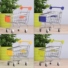 storage mini shopping cart trolley desktop decor ornament toys
