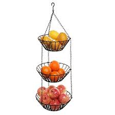 metal fruit basket 3 tier kitchen ceiling hanging black metal fruit